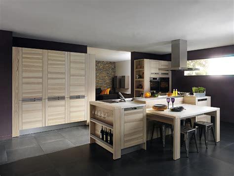 ilot cuisine en l cuisine bois modèle design attitude