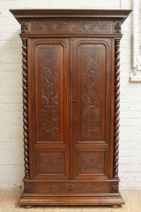 Antique Oak Armoire Wardrobe by 1112044 Antique Renaissance Hunt Style 2 Door Oak