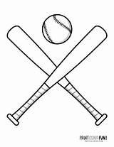 Baseball Coloring Pages Bats Gear Mitts Hats Balls Bat sketch template
