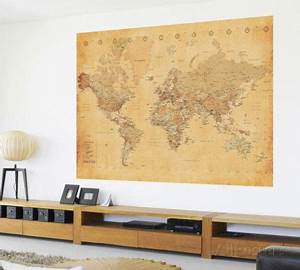 Carte Monde Deco : vintage style world map deco wallpaper mural wallpaper mural ideas for the ~ Teatrodelosmanantiales.com Idées de Décoration