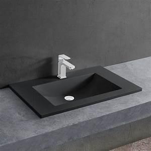 Mineralguss Waschbecken Reinigen : waschbecken schwarz 60x46cm einbauwaschbecken ~ Lizthompson.info Haus und Dekorationen