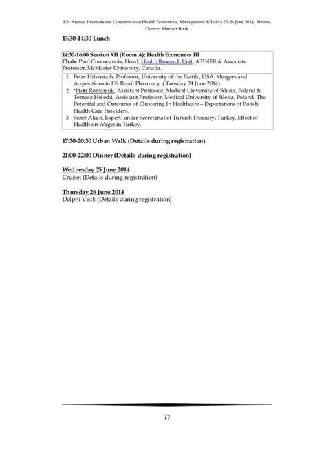 13th international health economics conf abstract book