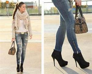 Jeans ripped jeans scarf white tan black heels shoes - Wheretoget