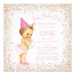 pink and gold 1st birthday invitations announcements zazzle canada