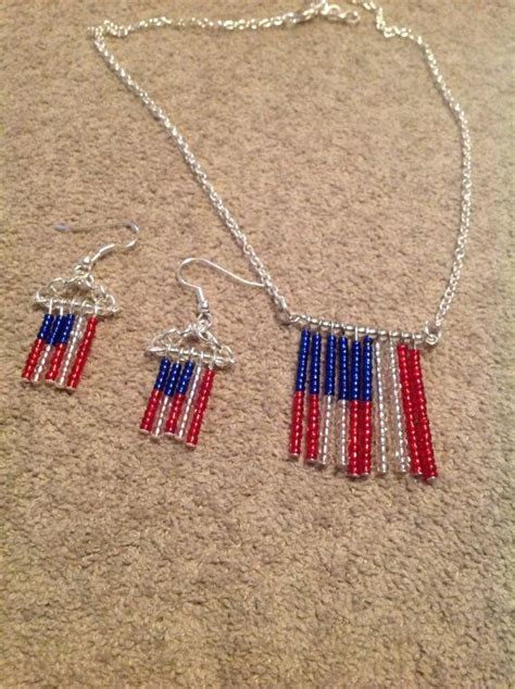 usa patriot jewelry flag necklace earrings
