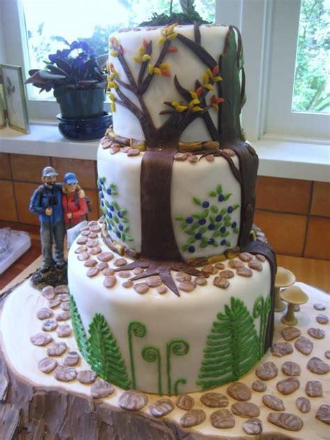 hikers wedding cake       bride