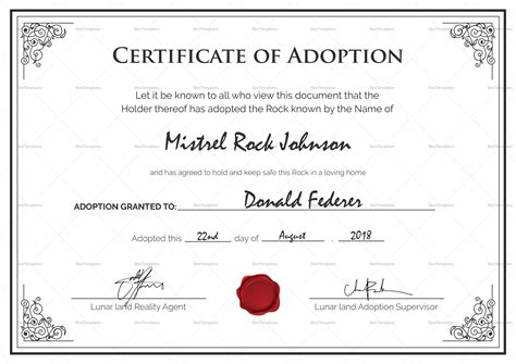 Adoption Certificate Certificate Adoption Birth Certificate Design Template In Psd Word