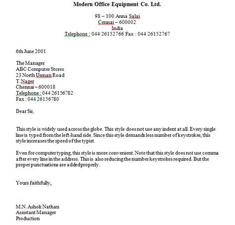 business letter template full block s tyle sample