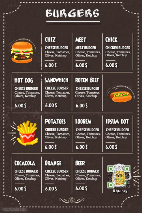restaurant burger menu black leather background template