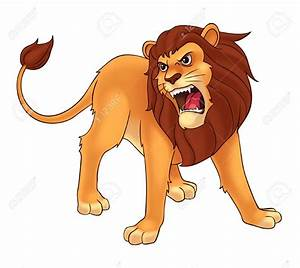 Cartoon roaring lion clipart