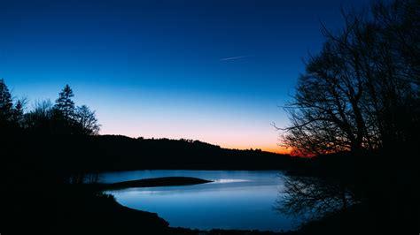 wallpaper  lake trees sunset night