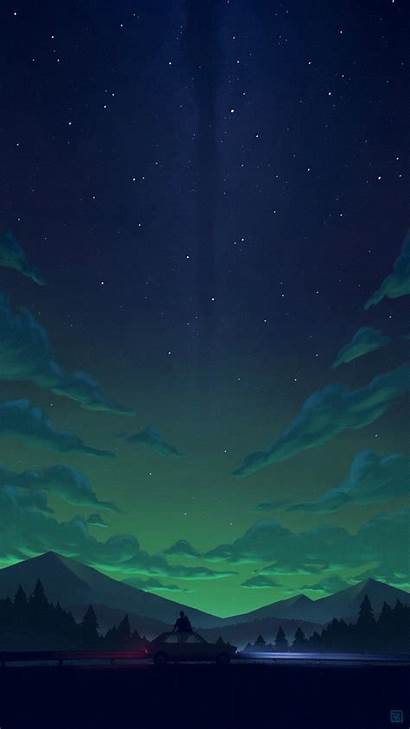 Landscape Night Scenery Galaxy Anime Pair Minimal