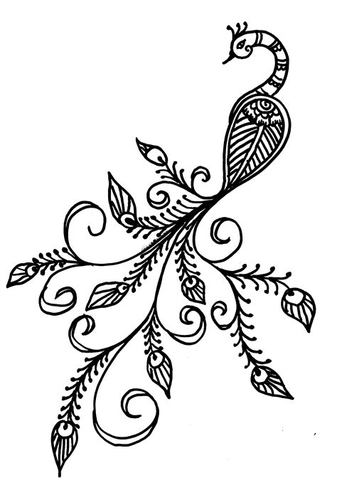 Easy Peacock Drawing - Bing Images | Peacock | Pinterest | Peacock drawing, Peacocks and Hennas