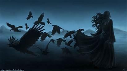 Dark Fantasy Gothic Goth Bird Wallpapersafari Raven