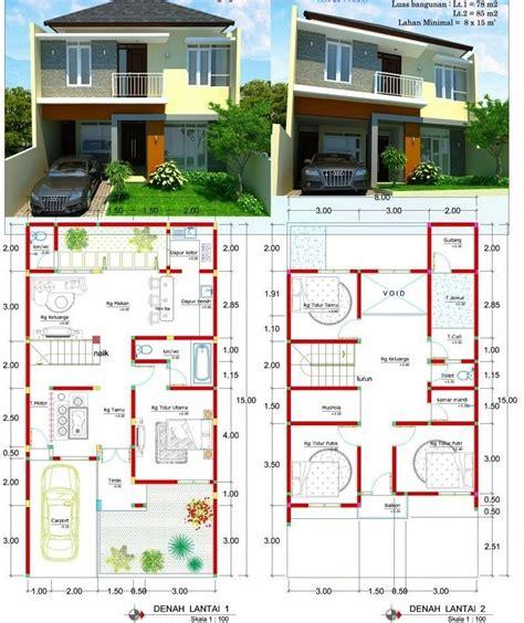 contoh gambar denah rumah minimalis  lantai  ukuran
