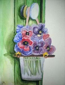 tableau peinture fleur penses aquarelle bouquet de fleurs With chambre bébé design avec envoi fleurs aquarelle