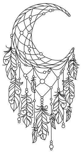 Moon Dreamcatcher Colouring Page … | Coloring pages