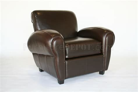 brown finish contemporary leather upholstered club chair