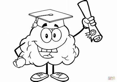Brain Coloring Happy Diploma Character Graduate Mind