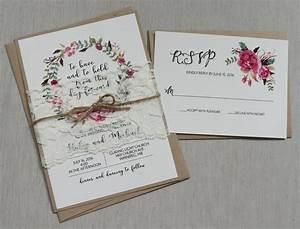 rustic floral boho wedding invitation lace wedding With boho wedding invitations with lace