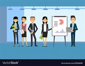Group of business people leading presentation Vector Image
