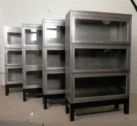 metal bookcase with doors mid century stack metal barrister bookcase single unit
