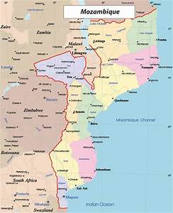 Detailed political and administrative map of Mozambique ...