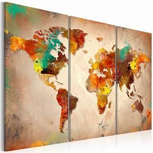 Poster Mural 3d : canvas print painted world triptych 3d wallpaper murals uk ~ Teatrodelosmanantiales.com Idées de Décoration