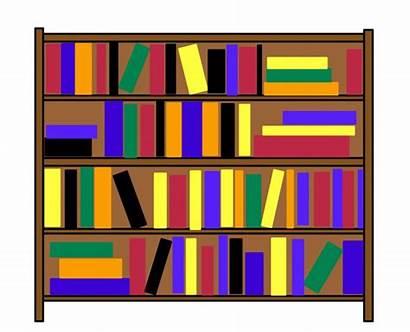 Bookshelf Clip Clipart Cartoon Shelves Bookcase Books