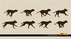 Dogs running sequence vector silhouettes Vector | Free ...