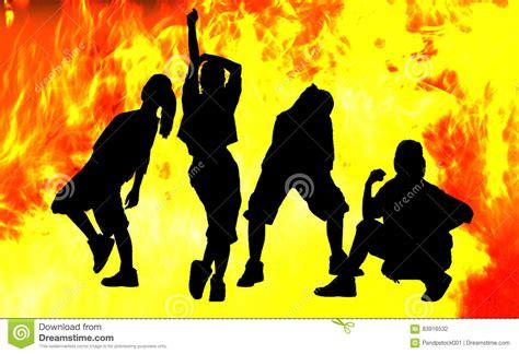 shadow dance  fire stock photo image  modern woman