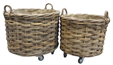 Large & Small Square Log Baskets On Wheels, A Perfect