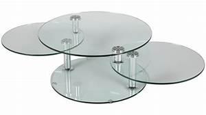 Grande Table Basse Ronde : grande table basse en verre ronde 3 plateaux table basse design en verre ~ Teatrodelosmanantiales.com Idées de Décoration