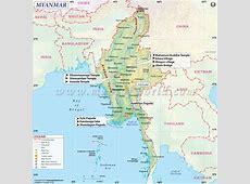 Myanmar Map, Detailed map of Myanmar Burma