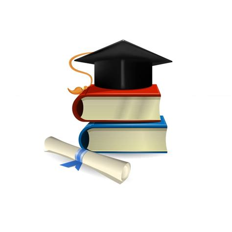 graduation hat graduation cap diploma and books vector free