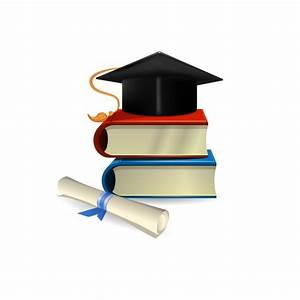 Graduation cap, diploma and books Vector | Free Download
