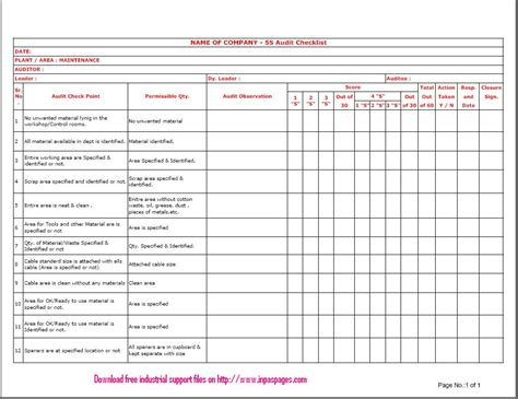 5S Clean Up Checklist | Mungfali