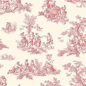 Red Toile Wallpaper