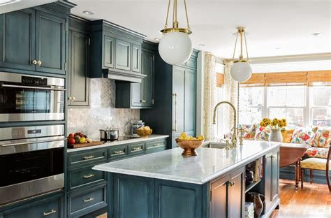 blue wash kitchen cabinets  gold hardware country