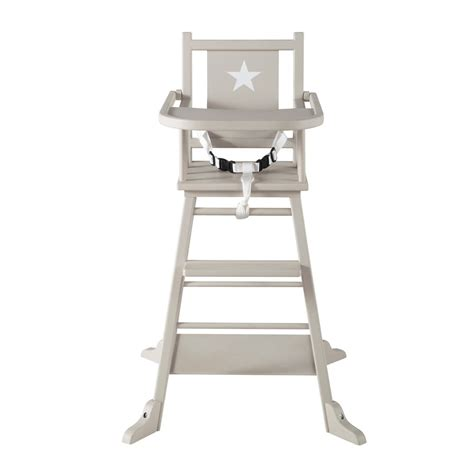 chaise haute solde wooden baby 39 s high chair in taupe pastel maisons du monde