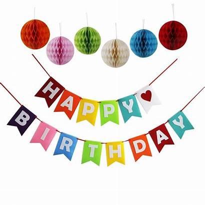 Birthday Banner Happy Decorations Ball Pom Tissue