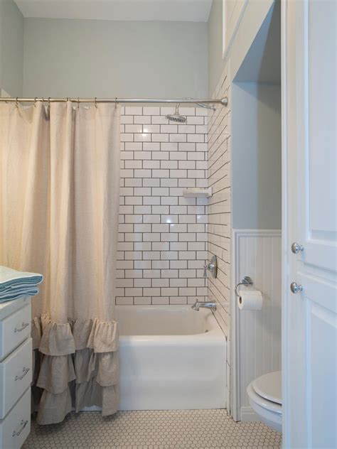 subway tile wainscoting bathroom fixer upper s best bathroom flips beadboard wainscoting black tiles and white subway tiles