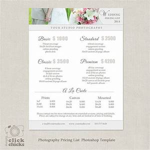wedding photography package pricing list template With wedding pricing template