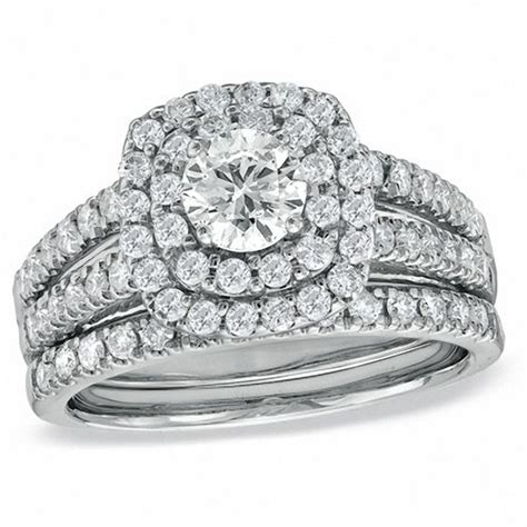 1 1 2 ct t w diamond double frame bridal in 14k white gold engagement rings wedding
