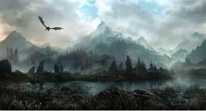 Skyrim Dragon Elder Scrolls Mountain Desktop Wallpapers