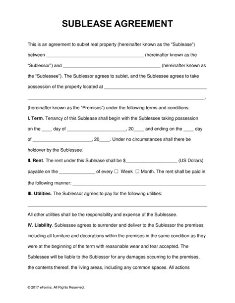 Commercial Sublet Lease Agreement Template by Sublease Agreement Template Madinbelgrade