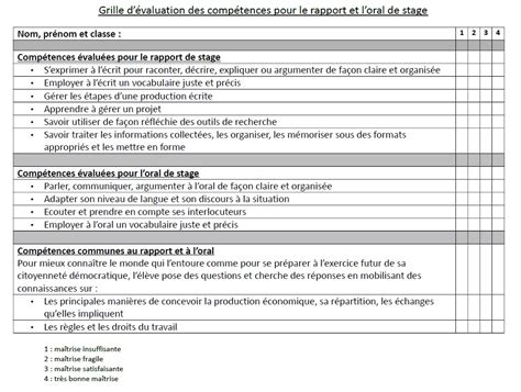 grille d 233 valuation des comp 233 tences pour le rapport et l de stage espaces p 233 dagogiques