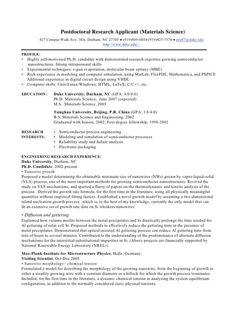 Cv Sample Postdoctoral Researcher | Example Good Resume Template