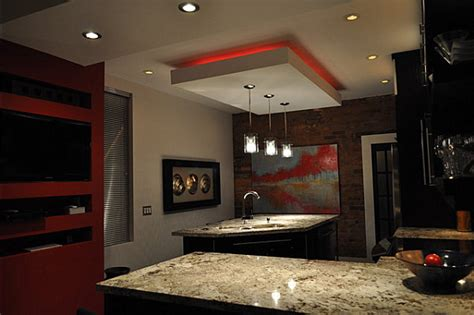 Dropped Soffit Ceiling by 12 Kitchens With Neon Lighting