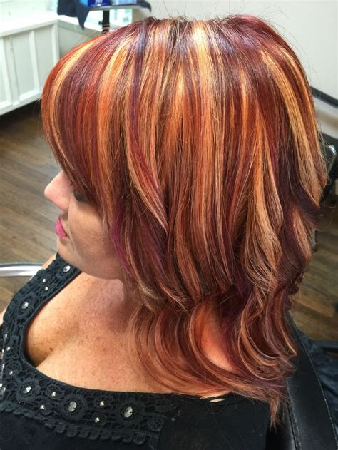 red hair copper  plum highlights hair  cameron